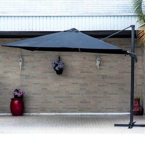 Ravello Deluxe Square Patio Umbrella. LED Lights Powered by Solar Panels