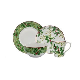 222 Fifth Christmas Foliage 16 Piece Dinnerware Set, Service for 4