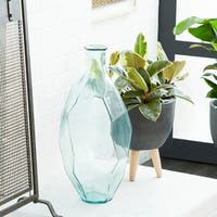 Decorative Glass Flower Vase w/ Angular Textured Body