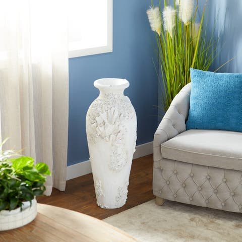 The Curated Nomad Barnacles Nautical Tall White Stone Floor Vase