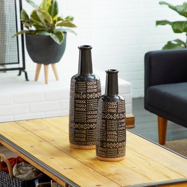 Bottle-Shaped Decorative Vase with Geometric Polynesian Design