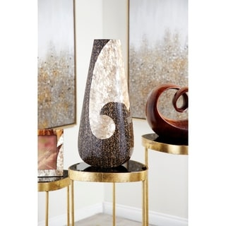 "Oyster Shell & Vervain Inlay Resin Drop Vase, 10"" x 22.5"""