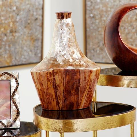 Carbon Loft Aykroyd Capiz Shell and Natural Banana Wood Vase