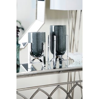Link to Modern Cylindrical Marble Vases on Iron Stands | Set of 2 Similar Items in Accent Pieces
