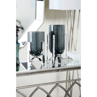 Modern Cylindrical Marble Vases on Iron Stands | Set of 2