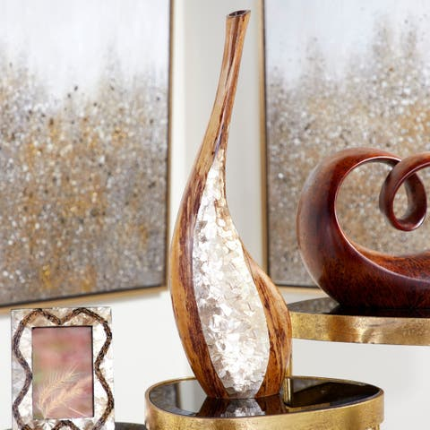 Capiz Shell & Natural Banana Wood Bud Vase w/ Extra Long Neck