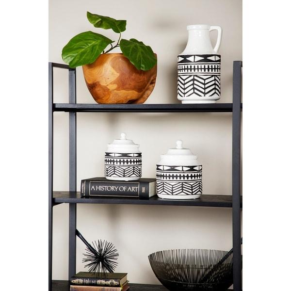 Round Waterproof Ceramic Vase w/ Handle & Geometric Pattern