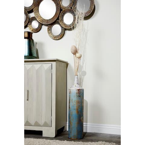 Textured Metal Tall Cylinder Vases Set of 2