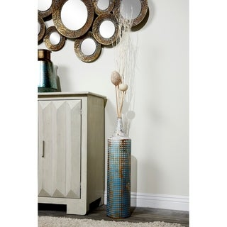 Textured Metal Tall Cylinder Vases | Set of 2