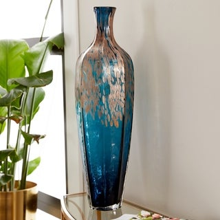 Porch & Den Kelso Metallic Spot Translucent Glass 23-inch Floor Vase