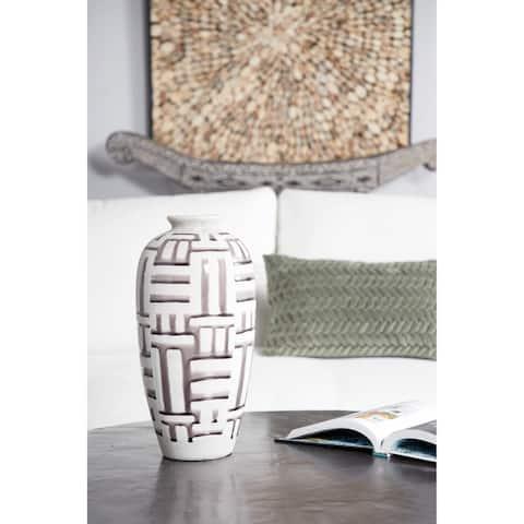 Round Ceramic Vase with Geometric Maze Pattern
