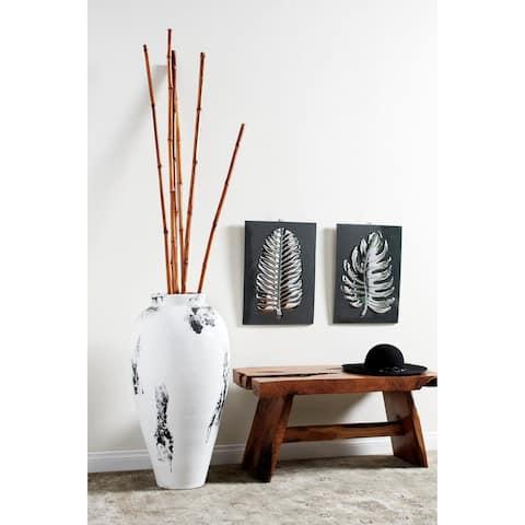 Stoneware Floor Vase with Textured Relief Detail