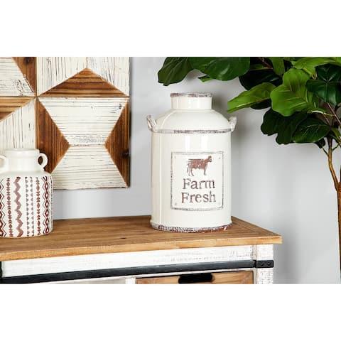 Farmhouse Decor Cylinder Ceramic Vase w/ Handles