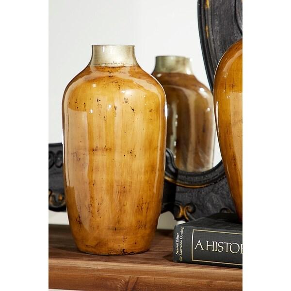 Handmade Tall, Round Ceramic Floor Vase with Glossy Finish