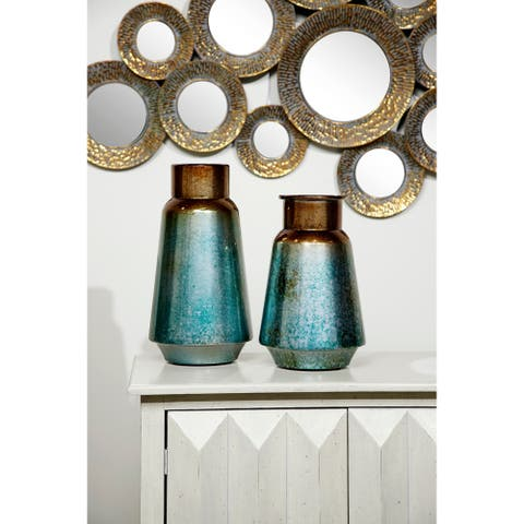 Gradient Round Metal Vases Set of 2