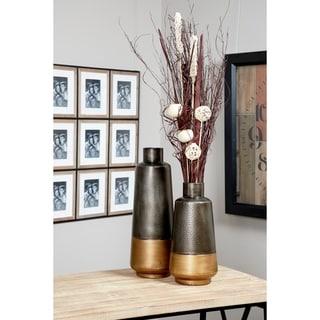 Textured Metal Vases | Set of 2