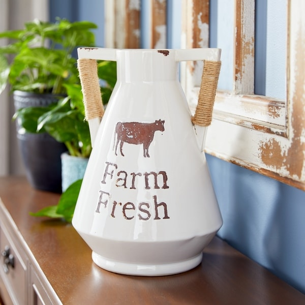 "Studio 350 Farmhouse Round White Ceramic Pitcher w/ Handles and Twine Detail, 8"" x 12"". Opens flyout."