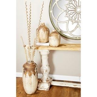 Handmade Ceramic Floor Vase, Distressed Finish