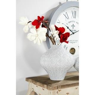 Round French Country Ceramic Vase w/ Decorative Relief Design
