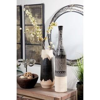 Tall Cylinder Decorative Vase with Geometric Polynesian Design