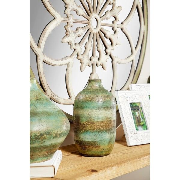 Hand Painted Striped Ceramic Vase
