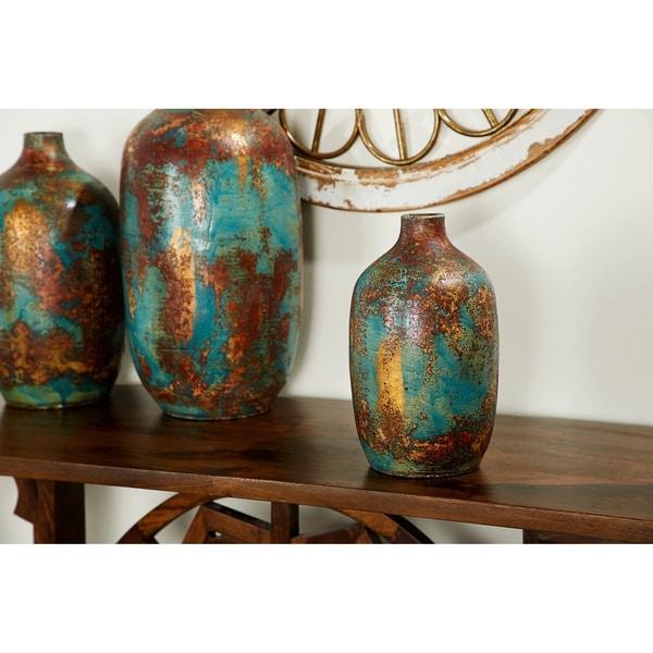 "Patina & Turquoise Handmade Round Ceramic Vase, 7"" x 12"""