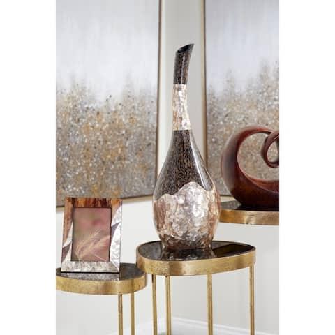 Capiz Shell & Vervain Inlay Resin Bud Vase w/ Swan Neck