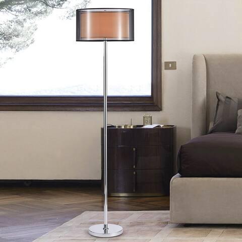 Eris Chrome 3-Light Double Shade Floor Lamp