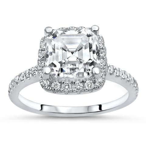 1.75ct TGW Asscher Cut Moissanite and Diamond Engagement Ring 14k White Gold