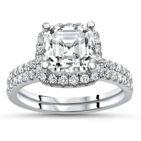 2.0ct TGW Asscher Cut Moissanite and Diamond Engagement Ring Bridal Set 14k White Gold