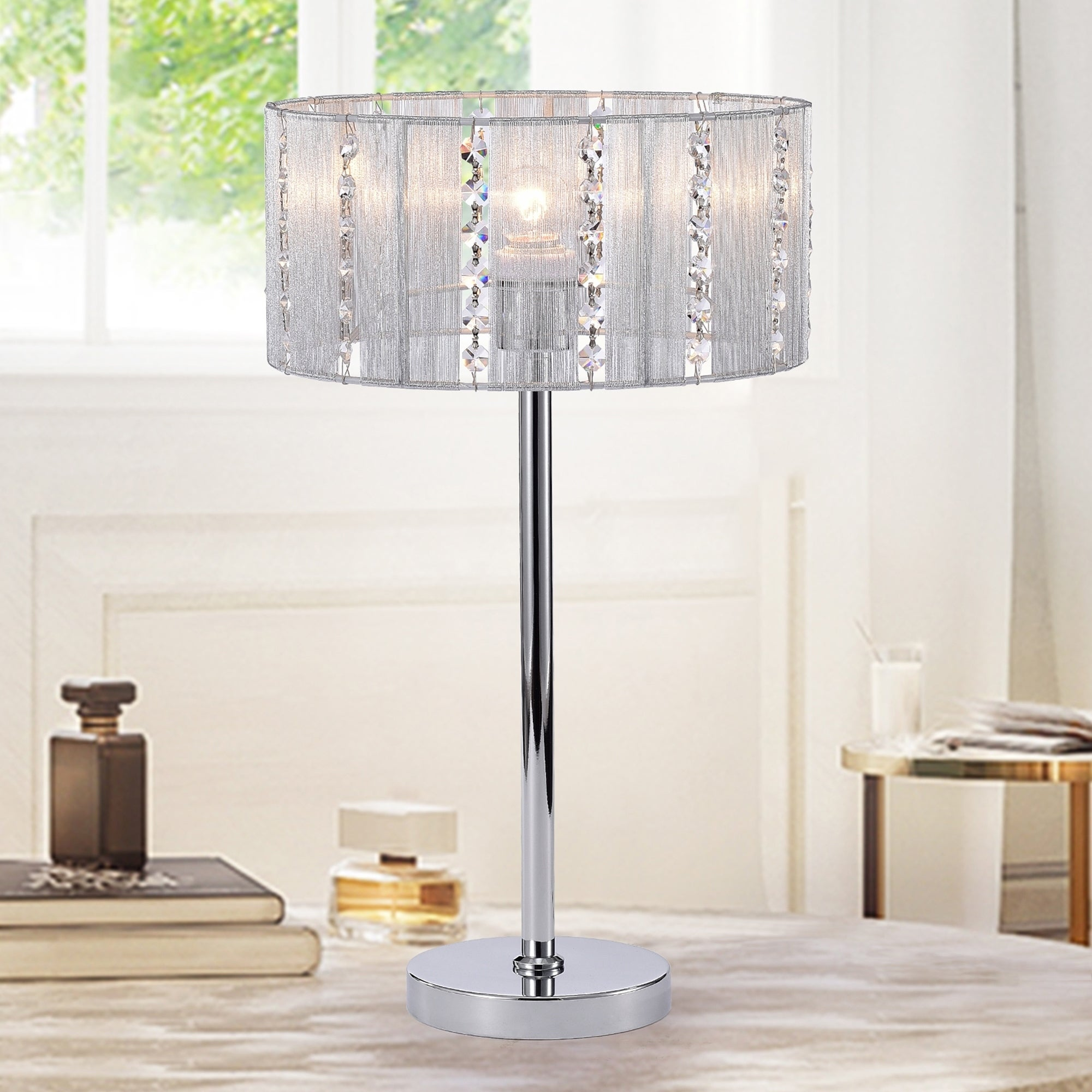 Lotti Chrome Fabric Crystal Table Lamp With A Drum Shade