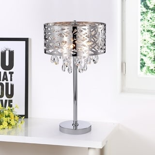 Link to Malati Chrome Crystal Accent 3 Light Steel Table Lamp Wish Metal Shade Similar Items in Table Lamps