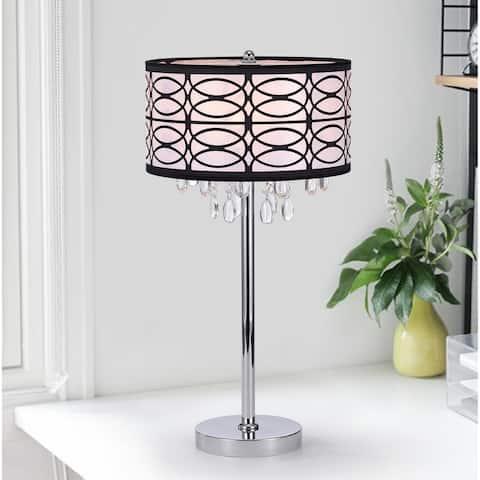 Farrah Chrome 3 Light Fabric Crystal Metal Table Lamp