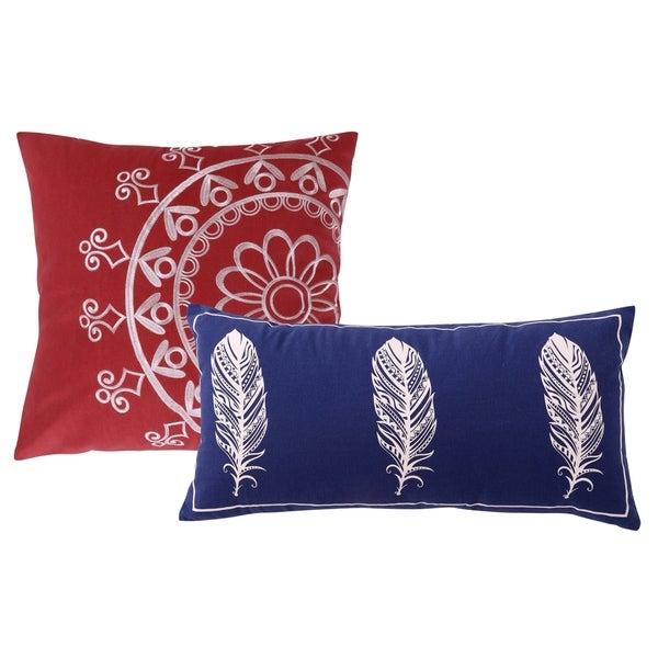 Greenland Home Fashions Dreamcatcher Red/Blue Cotton 2-piece Pillow Set