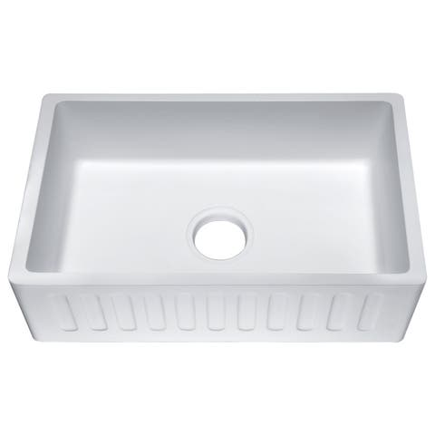 Roine 36 In. Farmhouse Apron Front Man Made Stone Single Bowl Kitchen Sink in Matte White