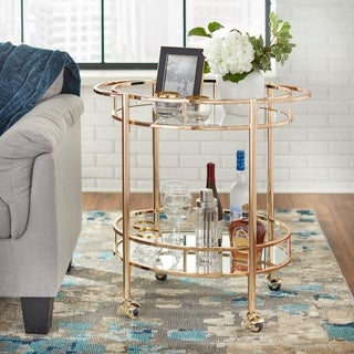 Lifestorey Devin Oval Metal Bar Cart