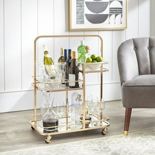 angelo:HOME Alcott 3-Tier Gold Metal Bar Cart (As Is Item)