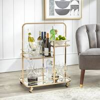 angelo:HOME Alcott 3-Tier Gold Metal Bar Cart
