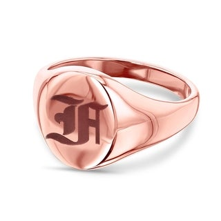Link to Annello by Kobelli 14k Rose Gold Personalized Initials Oval Signet Ring - Old Script Similar Items in Rings