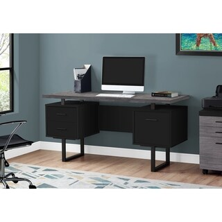 Grey Particleboard Top and Black Metal Frame 60-inch-long Computer Desk