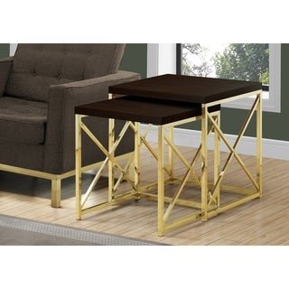 Silver Orchid Briscoe 2-piece Cappuccino/Gold Metal Nesting Table Set