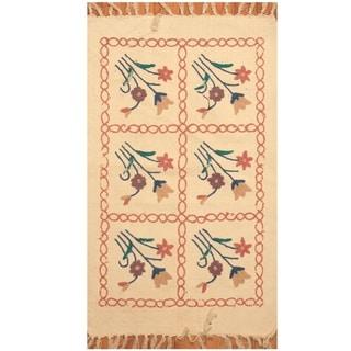 Handmade One-of-a-Kind Needle Stitch Wool Kilim (India) - 2' x 3'1