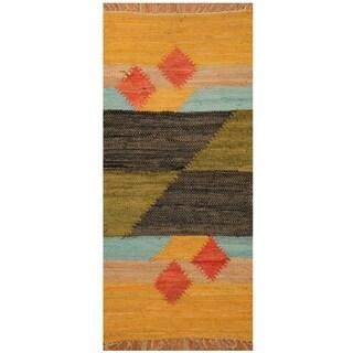 Handmade One-of-a-Kind Wool Kilim (India) - 2' x 4'2
