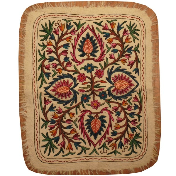 Handmade One-of-a-Kind Suzani Namad Rug (Uzbekistan) - 3' x 3'10