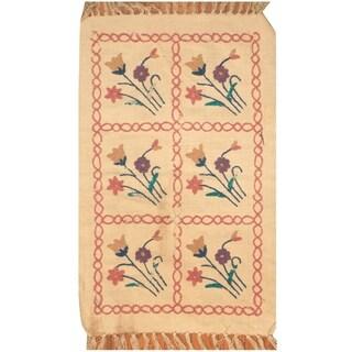 Handmade One-of-a-Kind Needle Stitch Wool Kilim (India) - 2' x 3'