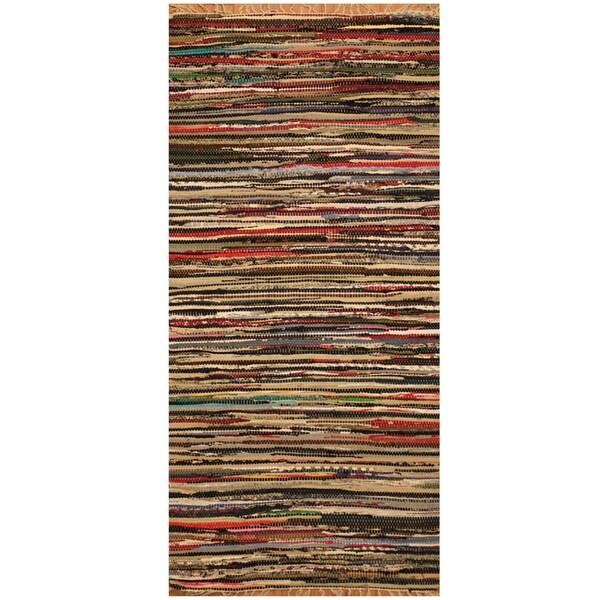 Handmade One-of-a-Kind Wool Kilim (India) - 2'5 x 5'