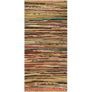 Handmade One-of-a-Kind Wool Kilim (India) - 2'5 x 4'7