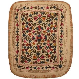 Handmade One-of-a-Kind Suzani Namad Rug (Uzbekistan) - 3'2 x 4'
