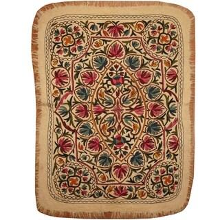 Handmade One-of-a-Kind Suzani Namad Rug (Uzbekistan) - 4' x 5'10