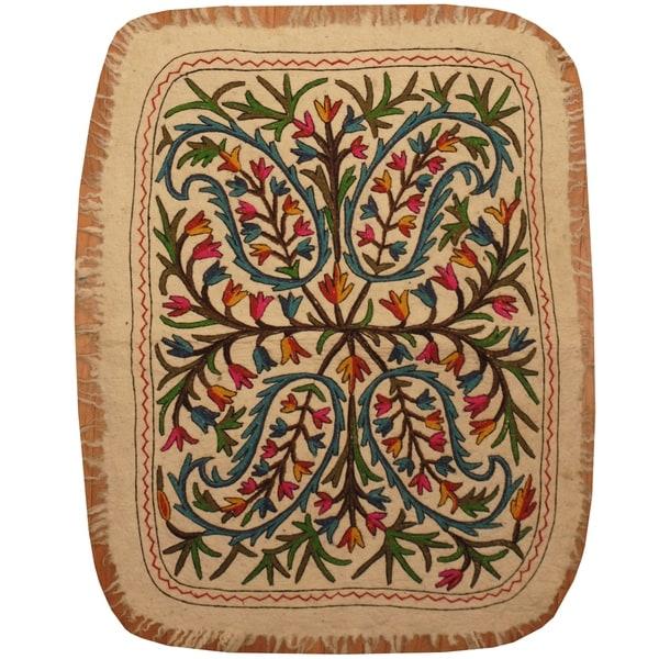 Handmade One-of-a-Kind Suzani Namad Rug (Uzbekistan) - 3' x 4'